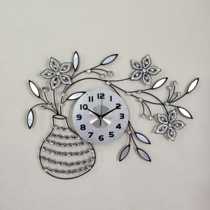 Artistic Metal Tree & Flower with White Stone Design Wall Clock