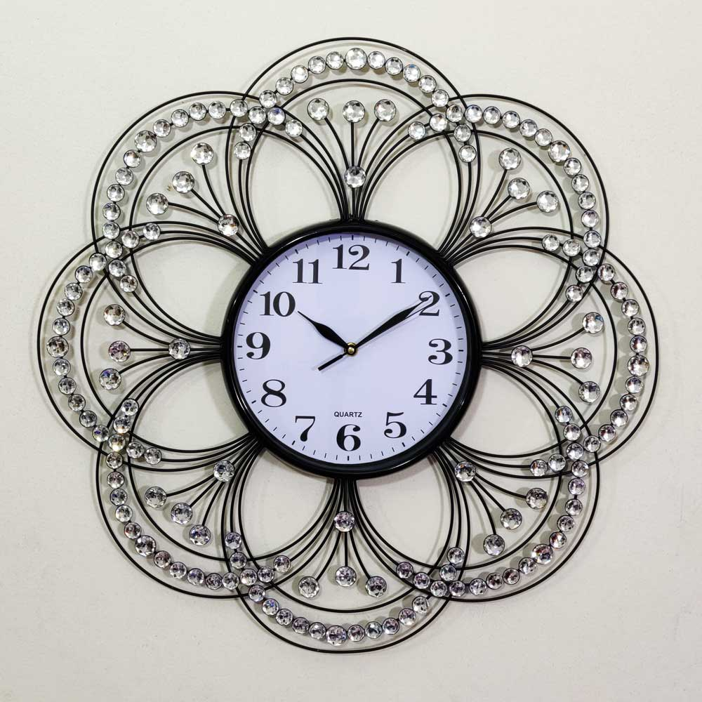 Flower Shape Metal Body With White Stone Design Wall Clock Cynor