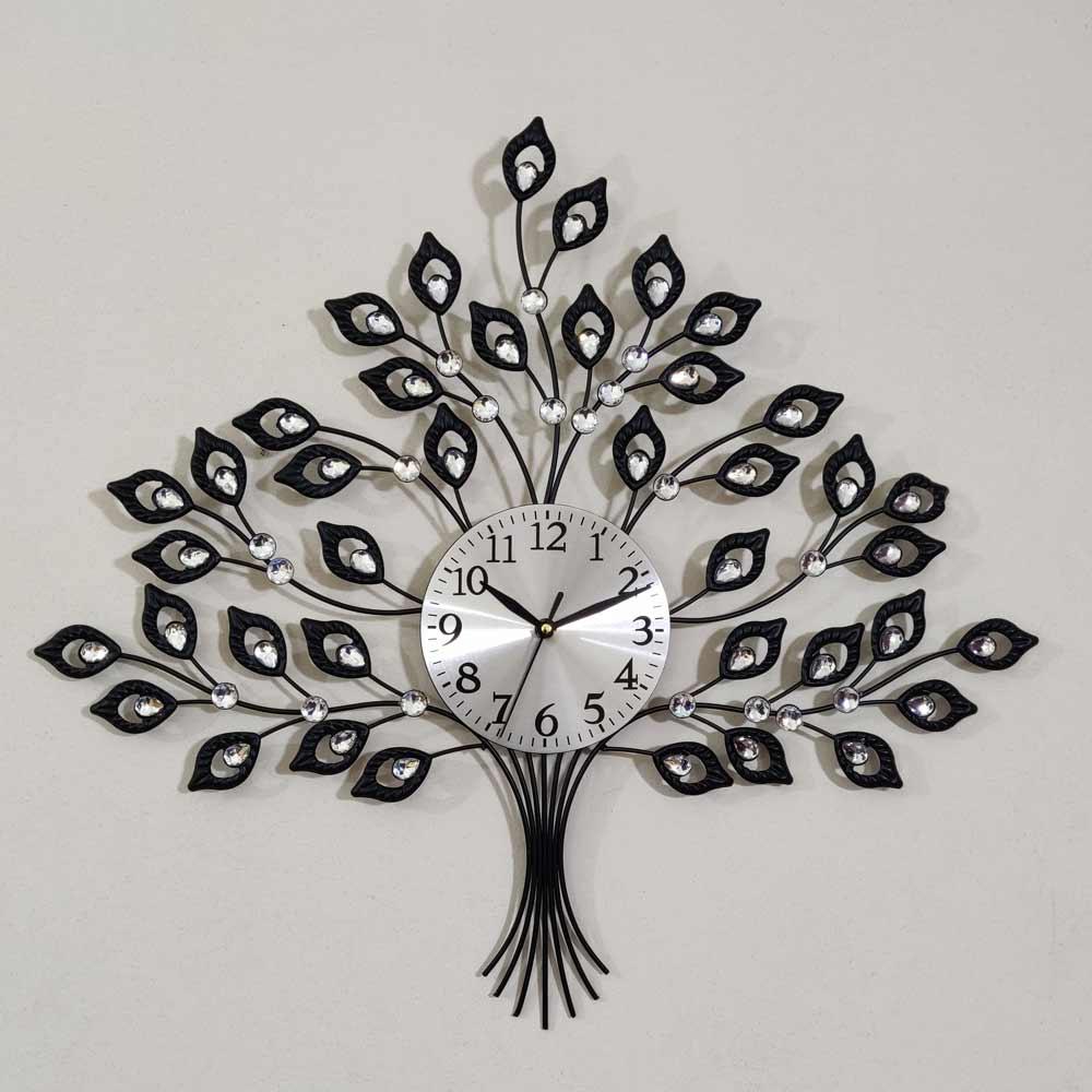 Artistic Metal Tree White Stone Design Wall Clock Cynor